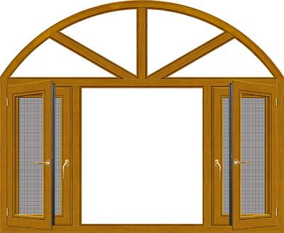 120铝木内开窗纱一体(纱网外置)