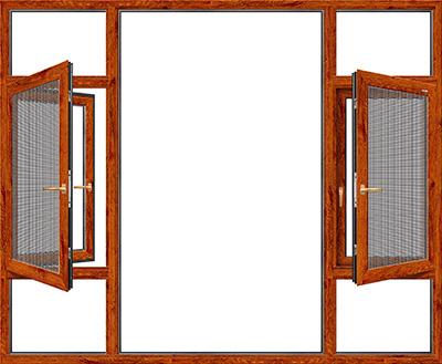 140窗纱一体断桥平开窗-金橡木